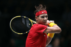 MADRID, SPAIN - NOVEMBER 22: Rafa Nadal of Spain in action against Diego Schwartzman of Argentina in his quarter final match on Day Five of the 2019 Davis Cup at La Caja Magica on November 22, 2019 in Madrid, Spain. (Photo by Alex Pantling/Getty Images)