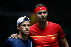 MADRID, SPAIN - NOVEMBER 20: Rafael Nadal of Spain and Diego Schwartzman of Argentina poses for photo before their match during the Day 5 of the 2019 Davis Cup at La Caja Magica on November 22, 2019 in Madrid, Spain. (Photo by Oscar J. Barroso / AFP7 / Europa Press Sports via Getty Images)
