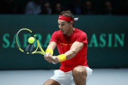 MADRID, SPAIN - NOVEMBER 19: Rafael Nadal of Spain plays a backhand against Karen Khachanov of Russia during Day 2 of the 2019 Davis Cup at La Caja Magica on November 19, 2019 in Madrid, Spain. (Photo by Clive Brunskill/Getty Images)