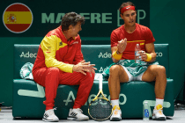 MADRID, SPAIN - NOVEMBER 19: Rafa Nadal (R) of Spain talks with captain of Spain Sergi Bruguera during Day two of the 2019 Davis Cup at La Caja Magica on November 19, 2019 in Madrid, Spain. (Photo by David Aliaga/MB Media/Getty Images)