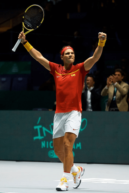 MADRID, SPAIN - NOVEMBER 19: Rafa Nadal of Spain celebrates the victory during his match against Karen Khachanov of Russia during Day two of the 2019 Davis Cup at La Caja Magica on November 19, 2019 in Madrid, Spain. (Photo by David Aliaga/MB Media/Getty Images)
