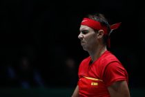 MADRID, SPAIN - NOVEMBER 19: Rafael Nadal of Spain reacts during his match against Karen Khachanov of Russia during the Day 2 of the 2019 Davis Cup at La Caja Magica on November 19, 2019 in Madrid, Spain. (Photo by Oscar J. Barroso / AFP7 / Europa Press Sports via Getty Images)