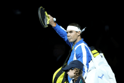 LONDON, ENGLAND - NOVEMBER 11: Rafael Nadal of Spain acknowledges the fans as he walks out prior to his singles match against Alexander Zverev of Germany during Day Two of the Nitto ATP World Tour Finals at The O2 Arena on November 11, 2019 in London, England. (Photo by Naomi Baker/Getty Images)