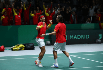 MADRID, SPAIN - NOVEMBER 23: Rafael Nadal of Spain and Feliciano Lopez of Spain celebrate match point in their semi-final doubles match against Jamie Murray and Neal Skupski of Great Britain during Day 6 of the 2019 Davis Cup at La Caja Magica on November 23, 2019 in Madrid, Spain. (Photo by Clive Brunskill/Getty Images for LTA)