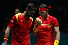 MADRID, SPAIN - NOVEMBER 20: Rafael Nadal and Marcel Granollers of Spain talks during his doubles match played against Machi Gonzalez and Leonardo Mayer of Argentina during the Day 5 of the 2019 Davis Cup at La Caja Magica on November 22, 2019 in Madrid, Spain. (Photo by Oscar J. Barroso / AFP7 / Europa Press Sports via Getty Images)