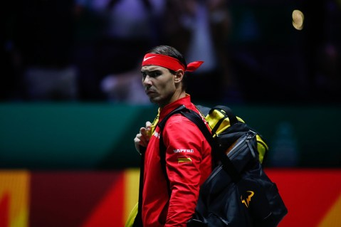 MADRID, SPAIN - NOVEMBER 20: Rafael Nadal of Spain looks on during his doubles match played with Marcel Granollers of Spain against Machi Gonzalez and Leonardo Mayer of Argentina during the Day 5 of the 2019 Davis Cup at La Caja Magica on November 22, 2019 in Madrid, Spain. (Photo by Oscar J. Barroso / AFP7 / Europa Press Sports via Getty Images)