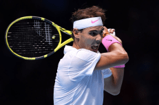 LONDON, ENGLAND - NOVEMBER 11: Rafael Nadal of Spain plays a backhand in his singles match against Alexander Zverev of Germany during Day Two of the Nitto ATP World Tour Finals at The O2 Arena on November 11, 2019 in London, England. (Photo by Justin Setterfield/Getty Images)