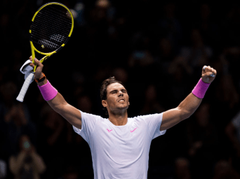 LONDON, ENGLAND - NOVEMBER 13: Rafael Nadal of Spain celebrates his victory over Daniil Medvedev of Russia during Day Four of the Nitto ATP World Tour Finals at The O2 Arena on November 13, 2019 in London, England. (Photo by TPN/Getty Images)