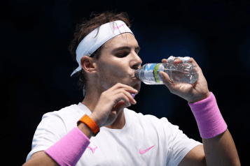 LONDON, ENGLAND - NOVEMBER 13: Rafael Nadal of Spain takes a drink in his singles match against Daniil Medvedev of Russia during Day Four of the Nitto ATP World Tour Finals at The O2 Arena on November 13, 2019 in London, England. (Photo by James Chance/Getty Images)