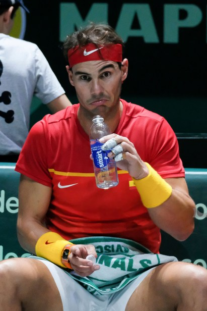 Rafa Nadal of Spain in action during his game against Borna Gojo of Croatia during Day Three of the 2019 Davis Cup at La Caja Magica on November 20, 2019 in Madrid, Spain (Photo by Oscar Gonzalez/NurPhoto via Getty Images)