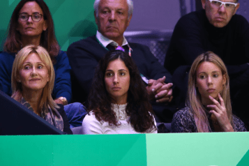 MADRID, SPAIN - NOVEMBER 24: (L-R) Ana Maria Parera, mother of Rafael Nadal, Xisca Perello, wife of Rafael Nadal and Maria Isabel Nadal, sister of Rafael Nadal of Spain watch the singles final match between Felix Auger-Aliassime of Canada and Roberto Bautista Agut of Spain during Day Seven of the 2019 Davis Cup at La Caja Magica on November 24, 2019 in Madrid, Spain. (Photo by Clive Brunskill/Getty Images)
