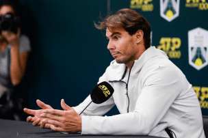 Rafael NADAL of Spain announces he's withdrawing of the tournament during the Day 6 of the Rolex Paris Masters at AccorHotels Arena on November 2, 2019 in Paris, France. (Photo by Baptiste Fernandez/Icon Sport via Getty Images)