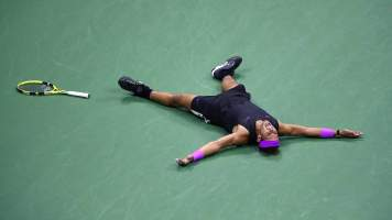 """US Open 2019: """"19th Slam title for Rafa, who is moving in fast on great rival Roger Federer's record of 20. This image says it all for me after the probably the best US Open final I've seen in the last 25 years!"""" - Clive Brunskill"""