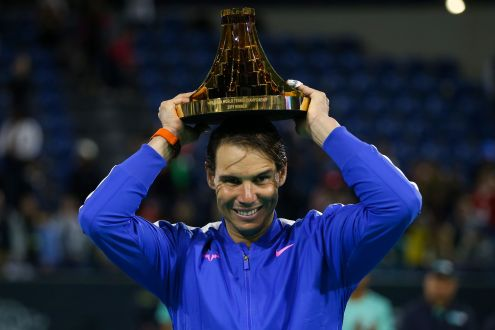 Spain's Rafael Nadal celebrates after winning the Mubadala World Tennis Championship Final at Zayed Sports City in Abu Dhabi, on December 21, 2019. (Photo by - / AFP) (Photo by -/AFP via Getty Images)