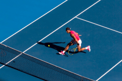 MELBOURNE, VIC - JANUARY 25: Rafael Nadal of Spain returns the ball during the third round of the 2020 Australian Open on January 25 2020, at Melbourne Park in Melbourne, Australia. (Photo by Jason Heidrich/Icon Sportswire via Getty Images)