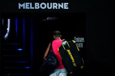 MELBOURNE, AUSTRALIA - JANUARY 29: Rafael Nadal of Spain thanks the crowd as he walks off court after losing his Mens Singles Quarterfinal match against Dominic Thiem of Austria on day ten of the 2020 Australian Open at Melbourne Park on January 29, 2020 in Melbourne, Australia. (Photo by Fred Lee/Getty Images)