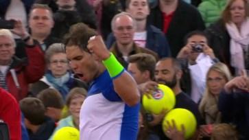 Rafael Nadal in action at Hamburg vs Jiri Vesely 2015