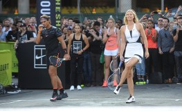 """NEW YORK, NY - AUGUST 24: Tennis player Rafael Nadal attends Nike's """"NYC Street Tennis"""" Event on August 24, 2015 in New York City. (Photo by Brad Barket/Getty Images)"""