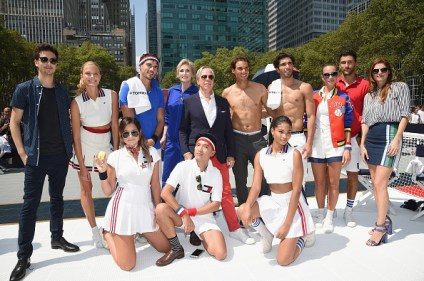 NEW YORK, NY - AUGUST 25: (L-R): BACK ROW: Nat Wolf, Constance Jablonski, Arthur Kulkov, Jane Lynch, Tommy Hilfiger, Rafael Nadal, Akin Akman, Hannah Davis, Noah Mills and Lake Bell FRONT ROW: Danielle Berstein, Bryan Boy and Chanel Iman pose at the Tommy Hilfiger and Rafael Nadal Global Brand Ambassadorship Launch at Bryant Park on August 25, 2015 in New York City. (Photo by Mike Coppola/Getty Images for Tommy Hilfiger)