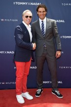 NEW YORK, NY - AUGUST 25: Tommy Hilfiger and Rafael Nadal attend the Tommy Hilfiger and Rafael Nadal Global Brand Ambassadorship Launch at Bryant Park on August 25, 2015 in New York City. (Photo by Mike Coppola/Getty Images for Tommy Hilfiger)