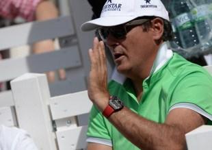 Toni Nadal , uncle and coach of Spain's Rafael Nadal watches the semifinal match between Rafael Nadal of Spain and Andreas Seppi of Italy at the ATPtennis tournament in Hamburg, Germany, Saturday Aug. 1, 2015. (Daniel Reinhardt/dpa via AP)