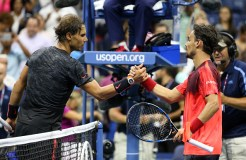 NEW YORK, NY - SEPTEMBER 04: (L-R) Rafael Nadal of Spain reacts shakes hands with Fabio Fognini of Italy after their match on Day Five of the 2015 US Open at the USTA Billie Jean King National Tennis Center on September 4, 2015 in the Flushing neighborhood of the Queens borough of New York City. (Photo by Streeter Lecka/Getty Images)