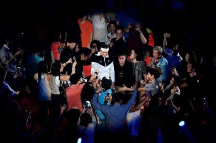 Rafael Nadal of Spain in action during the Rafael Nadal v Novak Djokovic exhibition match at Hua Mark Indoor Stadium on October 2, 2015 in Bangkok, Thailand. (Oct. 1, 2015 - Source: Thananuwat Srirasant/Getty Images AsiaPac)