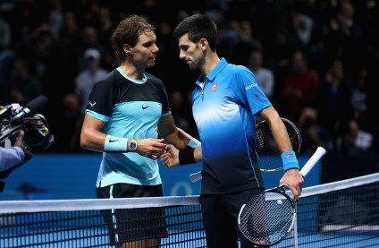 LONDON, ENGLAND - NOVEMBER 21: Novak Djokovic of Serbia shakes hands at the net after his straight sets victory against Rafael Nadal of Spain during the men's singles semi final match on day seven of the Barclays ATP World Tour Finals at O2 Arena on November 21, 2015 in London, England. (Photo by Clive Brunskill/Getty Images)