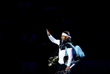 Rafael Nadal of Spain arrives for his match against Switzerland's Roger Federer at the Swiss Indoors ATP men's tennis tournament in Basel, Switzerland November 1, 2015. REUTERS/Arnd Wiegmann