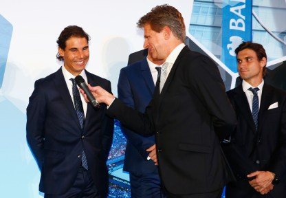 Andrew Castle interviews Rafael Nadal of Spain following the draw for the singles during the Barclays ATP World Tour Finals Draw at City Hall on November 12, 2015 in London, England. (Nov. 11, 2015 - Source: Julian Finney/Getty Images Europe)