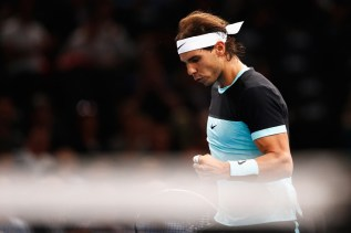 Rafael Nadal of Spain celebrates winning a point against Kevin Anderson of South Africa during Day 4 of the BNP Paribas Masters held at AccorHotels Arena on November 5, 2015 in Paris, France. (Nov. 4, 2015 - Source: Dean Mouhtaropoulos/Getty Images Europe)