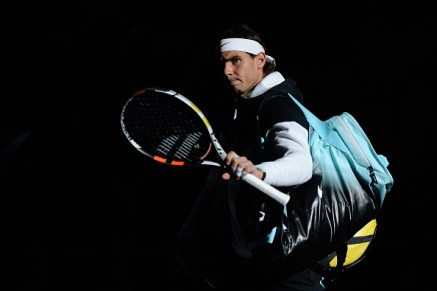 PARIS, FRANCE - NOVEMBER 04: Rafael Nadal of Spain salutes the crowd as he enters the court before his Men's second round match against Lukas Rosol of Czech Repubilc on day three of the BNP Paribas Masters at Palais Omnisports de Bercy on November 4 2015 in Paris, France. (Photo by Aurelien Meunier/Getty Images)