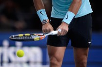 PARIS, FRANCE - NOVEMBER 04: Rafael Nadal of Spain in action during his Men's second round match against Lukas Rosol of Czech Repubilc on day three of the BNP Paribas Masters at Palais Omnisports de Bercy on November 4 2015 in Paris, France. (Photo by Aurelien Meunier/Getty Images)
