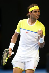 MELBOURNE, AUSTRALIA - JANUARY 19: Rafael Nadal of Spain celebrates a point in his first round match against Fernando Verdasco of Spain during day two of the 2016 Australian Open at Melbourne Park on January 19, 2016 in Melbourne, Australia. (Photo by Michael Dodge/Getty Images)