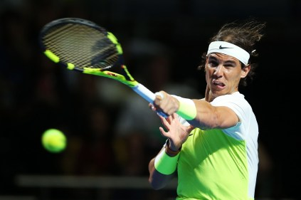 SYDNEY, AUSTRALIA - JANUARY 11: Rafael Nadal of Spain plays a forehand during the FAST4 Tennis exhibition match between Rafael Nadal and Lleyton Hewitt at Allphones Arena on January 11, 2016 in Sydney, Australia. (Photo by Brendon Thorne/Getty Images)