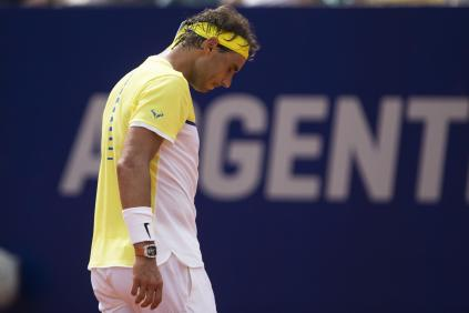 Rafael Nadal of Spain gestures during a match against Dominic Thiem of Austria during the ATP Argentina Open tennis match in Buenos Aires, Argentina, Saturday, Feb. 13, 2016. (AP Photo/Ivan Fernandez)