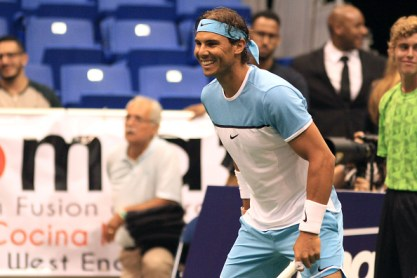 SAN JUAN, PUERTO RICO - MARCH 21: Rafael Nadal participates in Exhibition Match against Victor Estrella at Coliseo Jose M. Agrelot on March 21, 2016 in San Juan, Puerto Rico. (Photo by GV Cruz/WireImage)