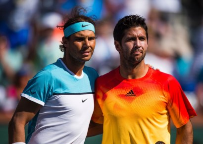 Rafael Nadal of Spain and Fernando Verdasco of Spain pose for a photo before their match , March 15, 2016 at the BNP Paribas Open at the Indian Wells Tennis Garden in Indian Wells, California. / AFP / ROBYN BECK