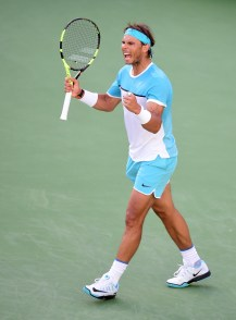INDIAN WELLS, CA - MARCH 15: Rafael Nadal of Spain reacts to his final point of the match to beat Fernando Verdasco of Spain in straight sets at Indian Wells Tennis Garden on March 15, 2016 in Indian Wells, California. (Photo by Harry How/Getty Images)