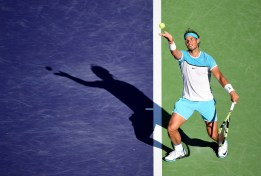 INDIAN WELLS, CA - MARCH 16: Rafael Nadal of Spain serves during his match against Alexander Zverev of Germany at Indian Wells Tennis Garden on March 16, 2016 in Indian Wells, California. (Photo by Harry How/Getty Images)