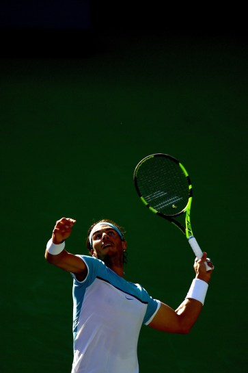 Rafael Nadal of Spain serves during his straight set victory over Fernando Verdasco of Spain at Indian Wells Tennis Garden on March 15, 2016 in Indian Wells, California. (March 14, 2016 - Source: Harry How/Getty Images North America)