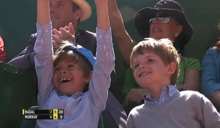 Little Rafael Nadal Fans having fun during Rafa's semifinal match against Andy Murray at Monte-Carlo Masters