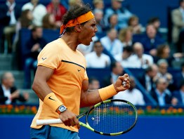 BARCELONA, SPAIN - APRIL 22: Rafael Nadal of Spain celebrates a point against Fabio Fognini of Italy during day five of the Barcelona Open Banc Sabadell at the Real Club de Tenis Barcelona on April 22, 2016 in Barcelona, Spain. (Photo by Manuel Queimadelos Alonso/Getty Images)