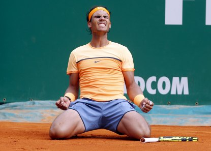 Tennis - Monte Carlo Masters - Monaco, 17/04/16. Rafael Nadal of Spain reacts after winning his final tennis match against Gael Monfils of France at the Monte Carlo Masters REUTERS/Eric Gaillard