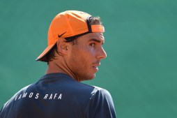 Rafael Nadal of Spain in action in a practice session during day One of the ATP Monte Carlo Masters, at the Monte-Carlo Country Club on April 10, 2016 in Monte-Carlo, Monaco. (April 9, 2016 - Source: Valerio Pennicino/Getty Images Europe)