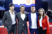 PARIS, FRANCE - MAY 18: (L-R) Andres Velencoso, Rafael Nadal, Gregory van der Wiel and Marie Ange Casta pose during the Tommy X Nadal party tennis soccer match hosted by Tommy Hilfiger on May 18, 2016 in Paris, France. (Photo by Rindoff Petroff/Hekimian/Getty Images for Tommy Hilfiger)