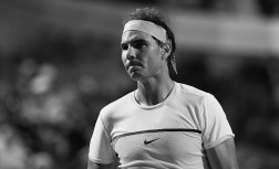 ROME, ITALY - MAY 11: (Editors Note: This image has been turned black and white) Rafa Nadal of Spain looks on during his match against Philipp Kohlscreiber of Germany during day four of the The Internazionali BNL d'Italia 2016 on May 11, 2016 in Rome, Italy. (Photo by Matthew Lewis/Getty Images)