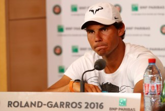 Rafael Nadal of Spain announces during a press conference that he is withdrawing from the tournament due to a wrist injury on day six of the 2016 French Open at Roland Garros on May 27, 2016 in Paris, France. (May 26, 2016 - Source: Clive Brunskill/Getty Images Europe)