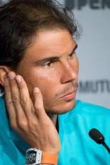 MADRID SPAIN - MAY 07: Press conference Rafael Nadal attends a press conference during the Mutua Madrid Open tennis tournament at the Caja Magica on May 7, 2016 in Madrid, Spain. (Photo by Gonzalez Fuentes Oscar/Corbis via Getty Images)