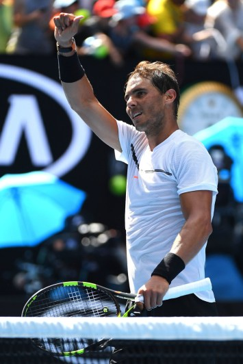Rafael Nadal of Spain celebrates winning his first round match against Florian Mayer of Germany on day two of the 2017 Australian Open at Melbourne Park on January 17, 2017 in Melbourne, Australia. (Jan. 16, 2017 - Source: Quinn Rooney/Getty Images AsiaPac)